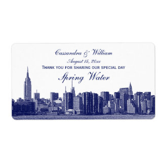 Blue NYC Wide Skyline Etched Water Bottle Label