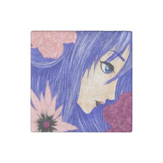 Blue Nymph Profile Stone Magnet