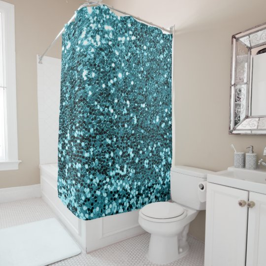 Blue Ocean Aqua Tiffany Faux Glitter Sequin Glam Shower Curtain