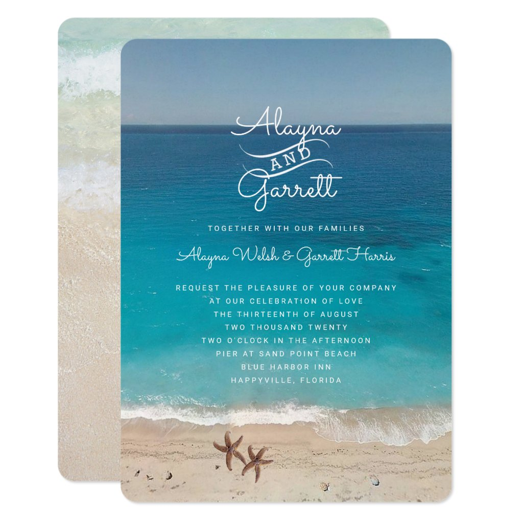 Blue Ocean Beach Ceremony Invitation