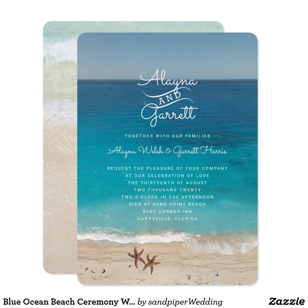 Blue Ocean Beach Ceremony Invitation