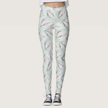 Beach Themed Blue Ocean Beach Pastel Kiss Mouth Girly Leggings