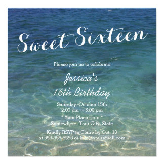 Blue Ocean Beach Theme Sweet Sixteen Custom Invitation