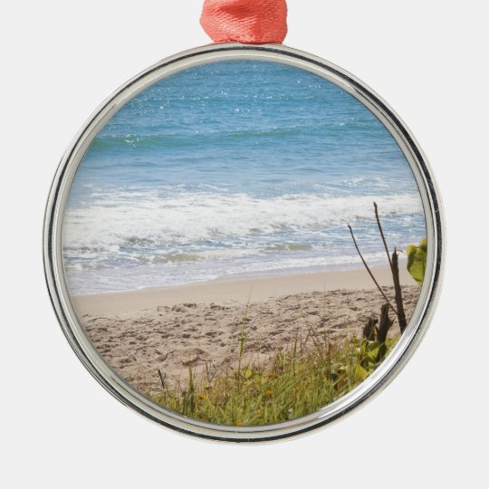 Blue Ocean Beach Waves Photograph Metal Ornament