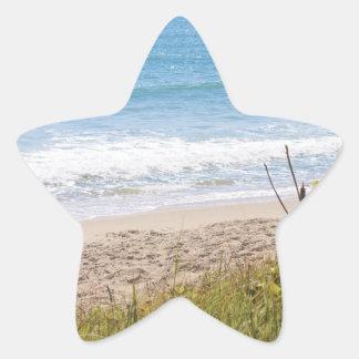 Blue Ocean Beach Waves Photograph Star Sticker