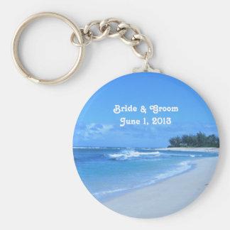 Blue Ocean Bride & Groom Keychain