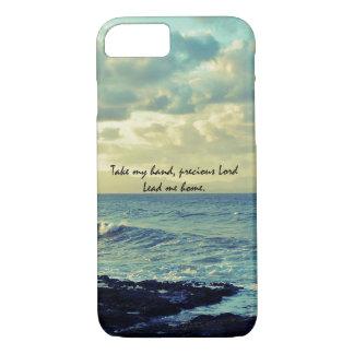 Blue Ocean Coast with Christian Hymn Lyric iPhone 8/7 Case