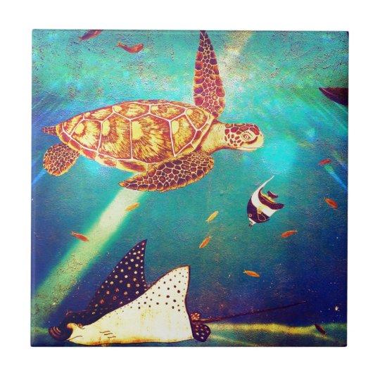 Sea Life Turtle Wave Rug2 Bath Mat: Blue Ocean Colorful Sea Turtle Painting Ceramic Tile