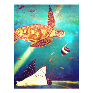 Blue Ocean Colorful Sea Turtle Painting Letterhead