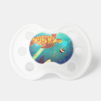 Blue Ocean Colorful Sea Turtle Painting Pacifier