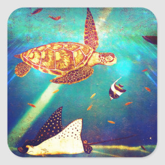 Blue Ocean Colorful Sea Turtle Painting Square Sticker