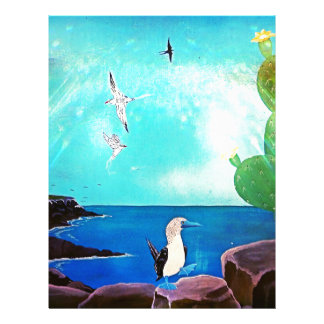 Blue Ocean Flying Birds Painting Letterhead