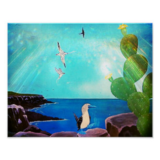 Blue Ocean Flying Birds Painting Poster