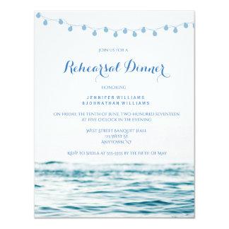 Blue ocean lights rehearsal dinner invitations