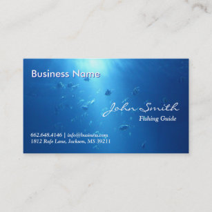 Fishing guide business cards templates zazzle blue ocean moving fishes fishing business card colourmoves