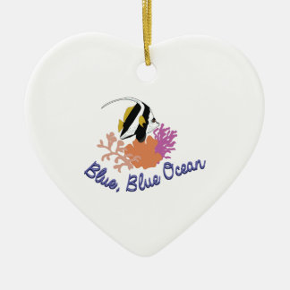 Blue Ocean Ceramic Heart Ornament