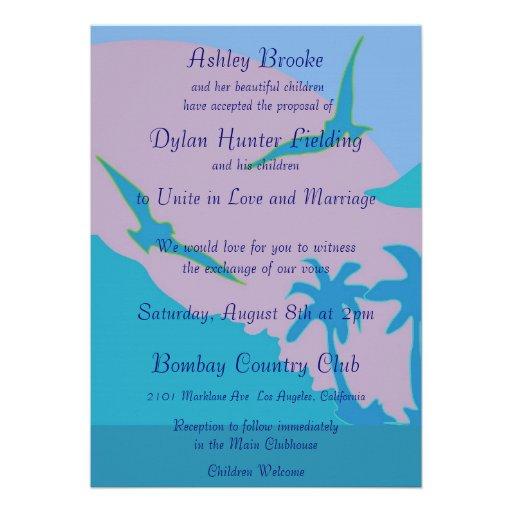 Blue Ocean Paradise Theme Blended Family Wedding Invitations