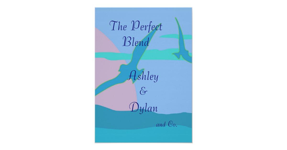 Blended Family Wedding Invitations: Blue Ocean Paradise Theme Blended Family Wedding