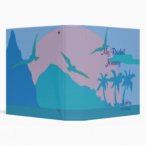 Blue Ocean Paradise Theme Bride's Book Vinyl Binder