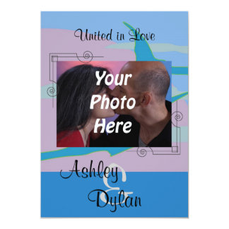 Blue Ocean Paradise Theme Photo Wedding Card