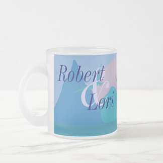 Blue Ocean Paradise Tropical Anniversary Frosted Glass Coffee Mug