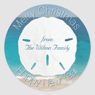 Blue Ocean Sand Dollar Merry Christmas From Classic Round Sticker