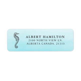 Blue Ocean Seahorse | Personalized Return Address Label