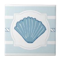 Blue ocean seashell nautical stripes ceramic tile