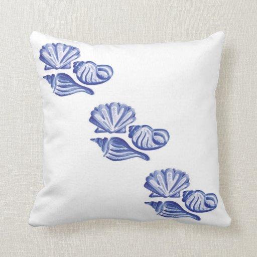 Ocean Blue Decorative Pillows : Blue Ocean Seashells Throw Pillow Zazzle