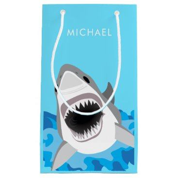 Beach Themed Blue Ocean Shark Attack Birthday Wrapping Small Gift Bag