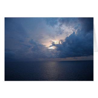 blue ocean sunset card