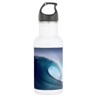 Blue ocean surfing wave 18oz water bottle