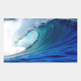 Blue ocean surfing wave rectangular sticker