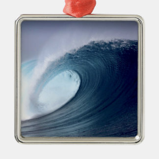 Blue ocean surfing wave tropical island metal ornament