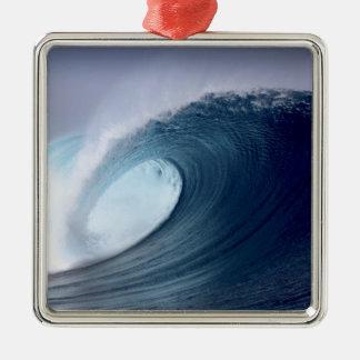 Blue ocean surfing wave tropical island ornament