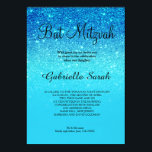 "Blue ocean teal  glitter ombre elegant Bat Mitzvah Invitation<br><div class=""desc"">A modern,  original and simple Blue ocean teal glitter ombre Bat Mitzvah invitation on a fully customizable blue color background</div>"