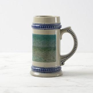 Blue Ocean Water Over White Sand Beer Stein