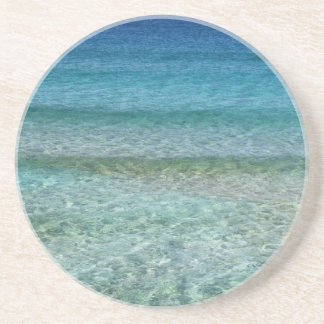 Blue Ocean Water Over White Sand Beverage Coasters