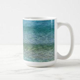 Blue Ocean Water Over White Sand Coffee Mug