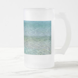 Blue Ocean Water Over White Sand Frosted Glass Beer Mug