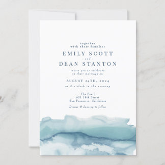 Blue Ocean Watercolor Wedding Invitation