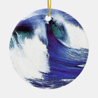 Blue Ocean Wave Ceramic Ornament