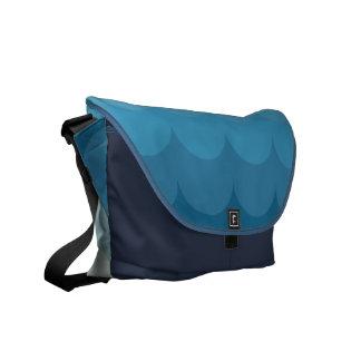 Blue ocean wave pattern messenger bag
