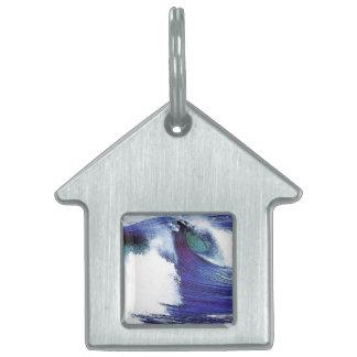 Blue Ocean Wave Pet ID Tag