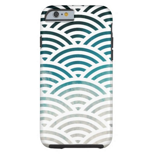Blue Ocean Waves and Sand Pattern Design Tough iPhone 6 Case