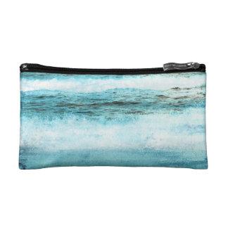 Blue Ocean Waves Beach Cosmetic Bag