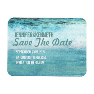 Blue Ocean Waves Beach SAve The Date Magnet