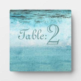 Blue Ocean Waves Beach Table Number Display Plaques