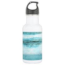 Blue Ocean Waves Beach Water Bottle