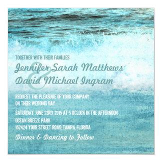Blue Ocean Waves Beach Wedding Invitations